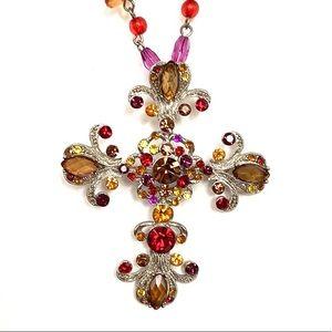 VCLM cross necklace rhinestone adjustable NEW